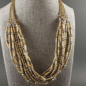 Chico's Antique Gold Multistrand Beaded Necklace